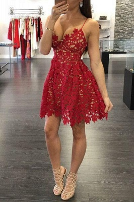 Sexy Red Lace Short  Homecoming Dresses New Arrival Saghetti Strap Summer Gowns BA3261_1