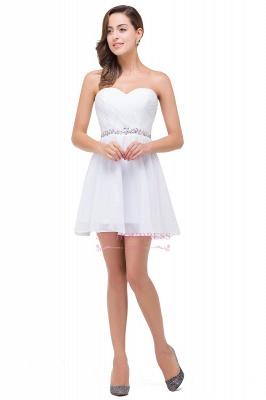 Short Chiffon Crystal Elegant Sweetheart White Homecoming Dress_2