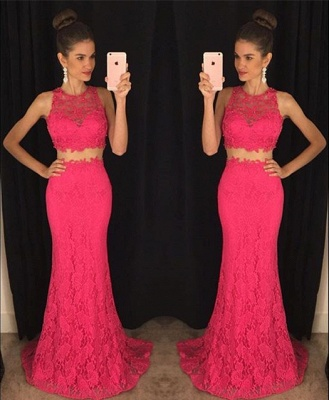 Elegant Two Piece Lace  Prom Dress Latest Simple Formal Occasion Dresses BA3869_6