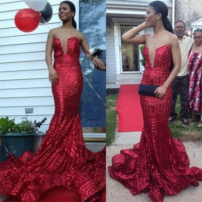 Strapless Mermaid Sequins Sexy Prom Dresses   Sleevelss  Evening Gown_3