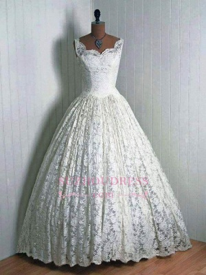 Lace 1950s Floor Length Sleeveless Vantage Wedding Dresses_1
