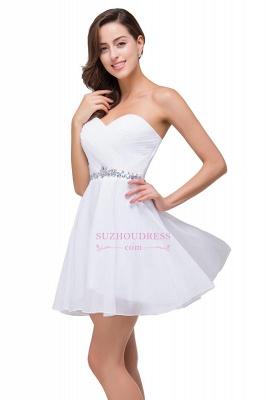 Short Chiffon Crystal Elegant Sweetheart White Homecoming Dress_5