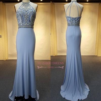 Blue Crystal Sheath Halter Open-Back Sweep-Train Evenig Dresses_1