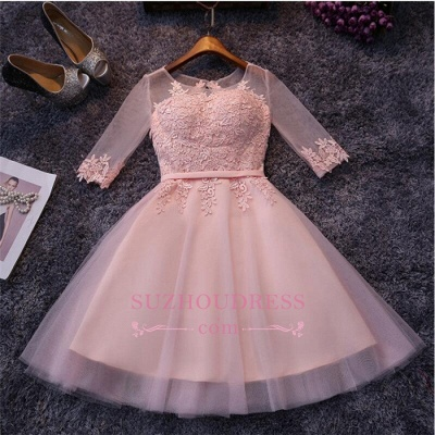 Pink Half-Sleeves Appliques Hoco Dresses  Short Tulle Homecoming Dresses_1