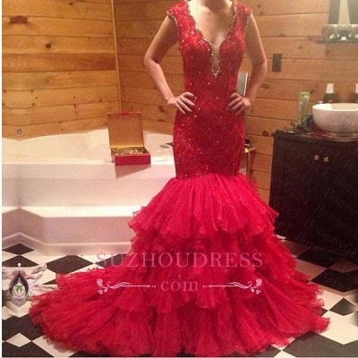 Beadings V-Neck Mermaid Sleeveless Red Tiered Prom Dress_1