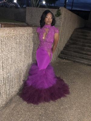 High Neck Mermaid Ruffles Prom Dresses  | Cap Sleeve Lace Sexy Sheer Graduation Dress FB0358_3