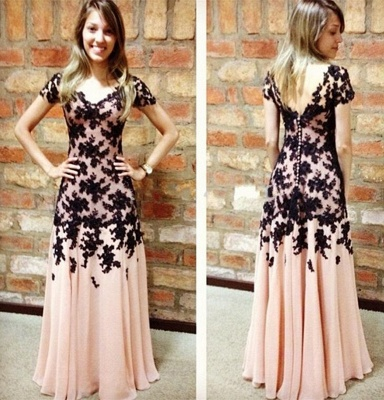 Elegant A-Line Black Lace Applique Prom Dress Short Sleeve Chiffon Long Evening Gown_3