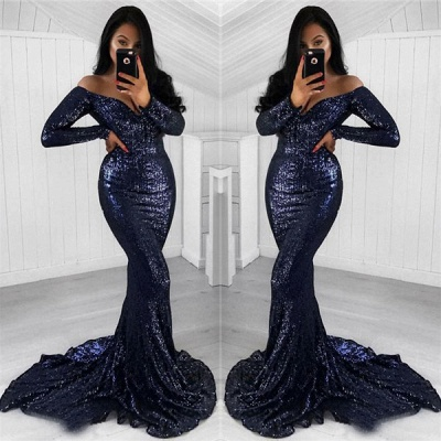 Black Mermaid Sequined Prom Dresses    Off the Shoulder Long Sleeves Evening Gowns_3