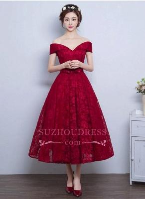 Tea Length Lace Vintage Burgundy Evening Gowns Off-the-Shoulder   Prom Dresses BA4449_2