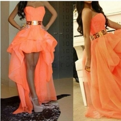 Chiffon Sweetheart Hi-lo Orange Homecoming Dresses with Gold Belt Cute Plus Size Prom Gowns_2