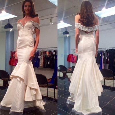 White Sexy Mermaid Off Shoulder Long Evening Dress with Beadings Latest Open Back Satin Dresses_2