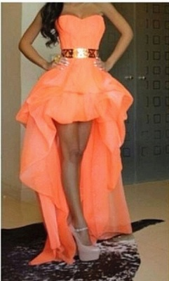 Chiffon Sweetheart Hi-lo Orange Homecoming Dresses with Gold Belt Cute Plus Size Prom Gowns_1