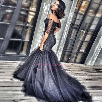 Mermaid Court-Train Black Lace New Tulle Off-the-shoulder Half-Sleeves Evening Dresses BA3948_3