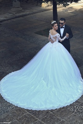 Elegant White Lace Ball Gown Wedding Dress Popular Sweep Train Long Sleeve Bridal Gown MH026_2