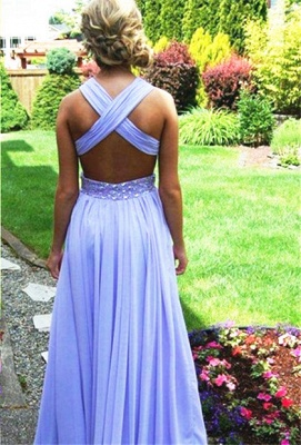 V-Neck A-Line Chiffon Evening Dresses  Criss- Cross Prom Gowns with Beadings CJ0044_2