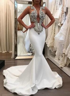 White Sleeveless Mermaid Prom Dresses | Appliques Beadings Evening Dresses_2