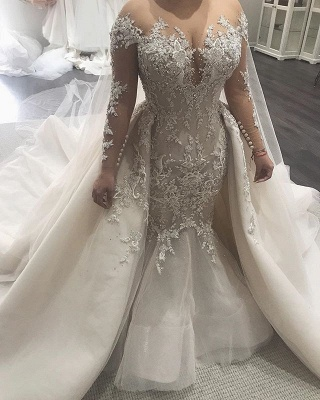 Alluring Lace Wedding Dresses Mermaid Bridal Gowns with Tulle Overskirt Online_3