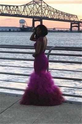 High Neck Mermaid Ruffles Prom Dresses  | Cap Sleeve Lace Sexy Sheer Graduation Dress FB0358_5