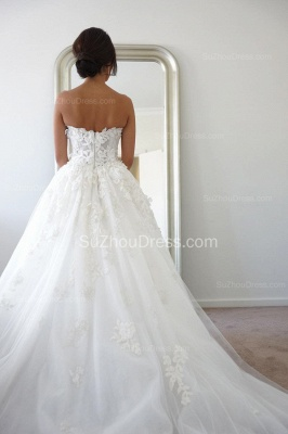 Timeless Bridal Dresses Sweetheart Appliques Flowers Ruffles Tulle Court Train Wedding Gowns_2