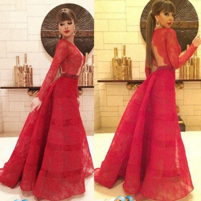 Sexy Red Lace Long Sleeve Prom Dress New Arrival Open Back Crystal Formal Occasion Dresses_3