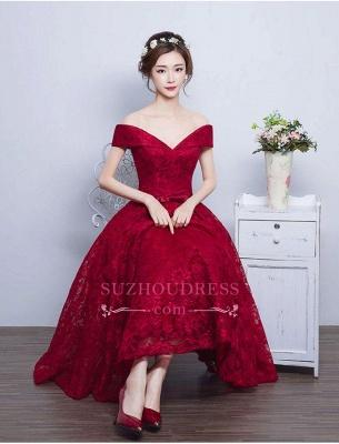 Tea Length Lace Vintage Burgundy Evening Gowns Off-the-Shoulder   Prom Dresses BA4449_1