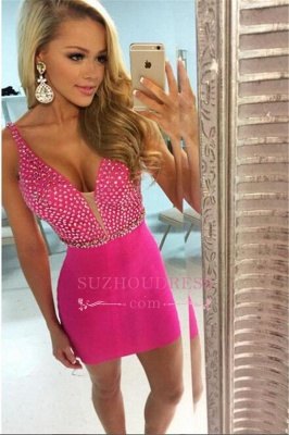 Fuchsia  Sexy Cocktail Dress V-neck Sheath Beaded Homecoming Dresses_1