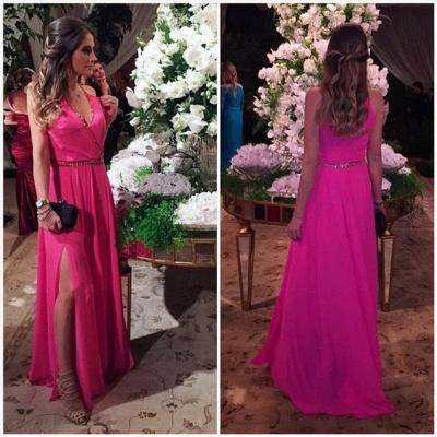A-Line Fuchsia V-Neck  Prom Dresses Beading Split Side Floor Length Party Gowns_3