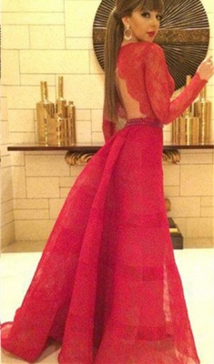 Sexy Red Lace Long Sleeve Prom Dress New Arrival Open Back Crystal Formal Occasion Dresses_1