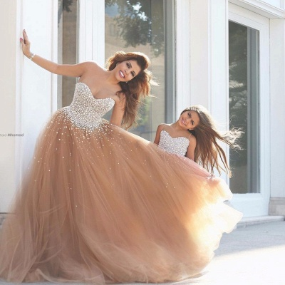 Daughter Dresses Champagne A-line Evening Dresses | Tulle Sleeveless Girl Dresses_3