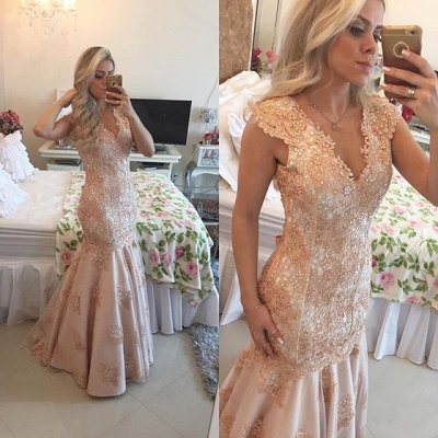 Sexy V-Neck Mermaid Crystal Long Formal Occasion Dress Lace Beadings Trumpet Evening Dress_1