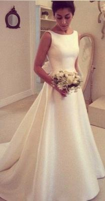 Elegant A-Line Backless Wedding Dresses Sleeveless Bowknot Sweep Train Bridal Gowns BA4237_1
