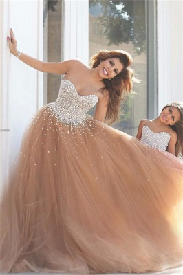 Daughter Dresses Champagne A-line Evening Dresses | Tulle Sleeveless Girl Dresses_1