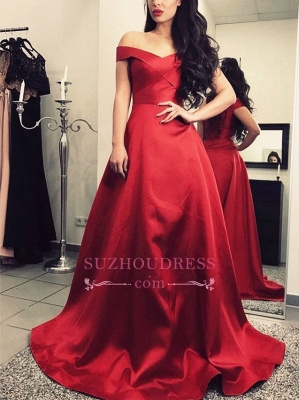 Short-Sleeves Elegant A-Line Sweep-Train Burgundy Off-The-Shoulder Prom Dresses_3
