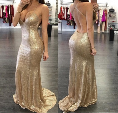 Champagne Sequins Backless Sexy Evening Gowns  V-neck Party Dress CE071_2
