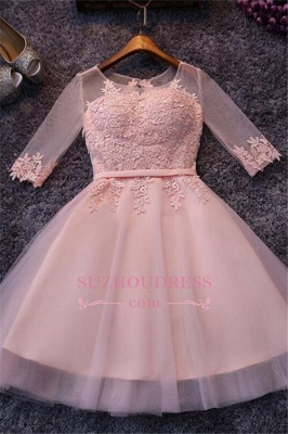 Pink Half-Sleeves Appliques Hoco Dresses  Short Tulle Homecoming Dresses_2