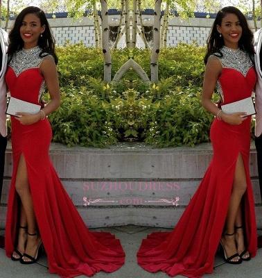 Crystal Elegant Side Sleeveless Mermaid Slit Red Prom Dresses_3