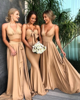 Sexy V-Neck Sleeveless Bridesmaid Dresses  | Simple Side Slit  Bridesmaid Dress_4