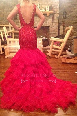 Beadings V-Neck Mermaid Sleeveless Red Tiered Prom Dress_4