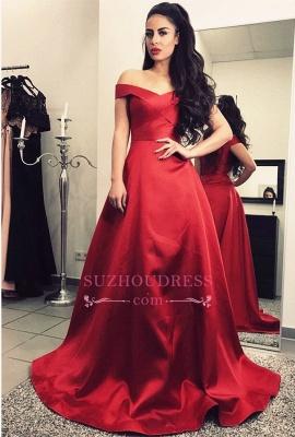 Short-Sleeves Elegant A-Line Sweep-Train Burgundy Off-The-Shoulder Prom Dresses_1