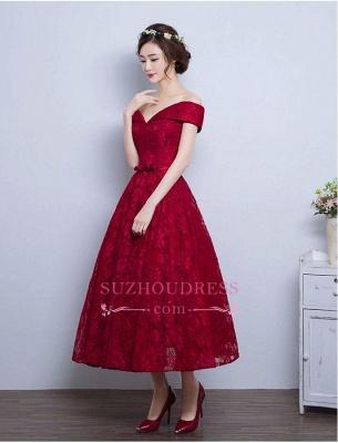 Tea Length Lace Vintage Burgundy Evening Gowns Off-the-Shoulder   Prom Dresses BA4449_4