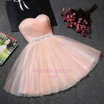 A-Line Ruffles Short Sweetheart Short Simple Crystal Homecoming Dresses_1