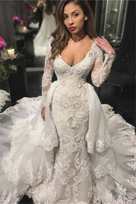V-neck Beads Appliques Wedding Dresses with Sleeves | Mermaid Overskirt Sexy Bride Dresses_1