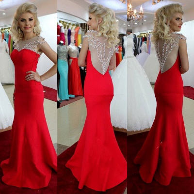 Sexy Mermaid Prom Dress Red Beading  Evening Dress_3