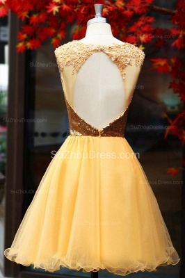Yellow Prom Dresses  Jewel Sequined Appliques Zipper Ruched A Line Organza Short Evening Gowns_3