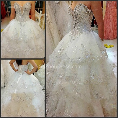 Glarmours Bridal Dresses Sequined Beading Crystal Tiered Sweep Train Ball Gown Chiffon Wedding Gowns_2