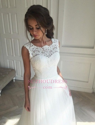 Sash Open Back Sleeveless  Bride Dress A-line Simple Lace Summer Beach Wedding Dresses_4