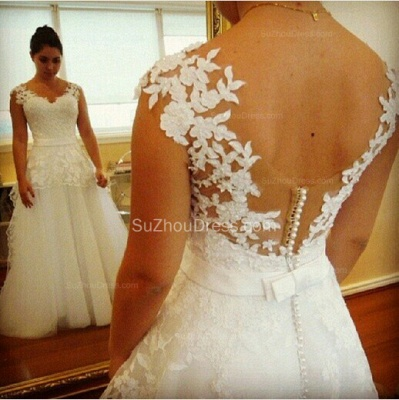 Modern Wedding Gowns V Neck Appliques Pearls Covered Button A Line Lace Bridal Dresses_2