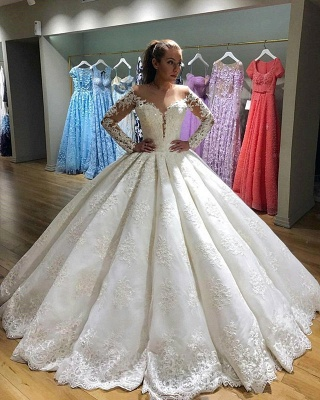 Elegant Long Sleeves Appliques Wedding Dresses  | Puffy Sheer Bridal Ball Gown_3