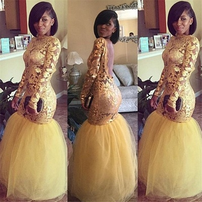 Long Sleeve Gold Lace Prom Dresses  | Mermaid Tulle Open Back Sexy Evening Dress BA8038_3