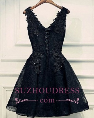 Lace-Up Short Beading Black Lace-Appliques V-Neck Homecoming Dresses_3